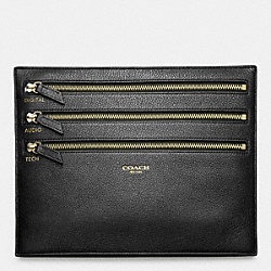 CROSBY ELECTRONIC CORD ZIP POUCH IN LEATHER - BLACK - COACH F61322