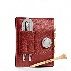 COACH LEATHER GOLF TEE SET - RED - F61437