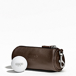 COACH LEATHER GOLF BALL SET - SILVER/MAHOGANY - F61440