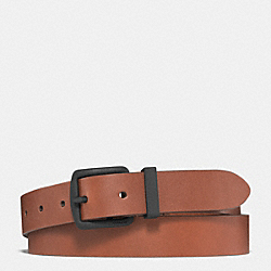 BLEECKER COATED BUCKLE BELT - FAWN/BLACK - COACH F61668