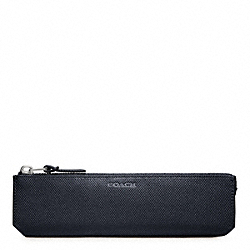 COACH BLEECKER EMBOSSED TEXTURED LEATHER PENCIL CASE - NAVY - F61677