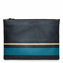 COACH BLEECKER PAINTED STRIPE LEATHER LARGE ZIP PORTFOLIO - ONE COLOR - F61683