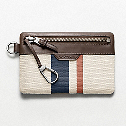 BLEECKER STRIPED CANVAS KEYCASE ENVELOPE COACH F61687