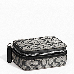 COACH SIGNATURE TRIPLE PILL BOX - SILVER/BLACK/WHITE/BLACK - F61700