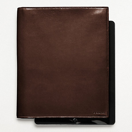 COACH BLEECKER LEATHER TABLET PORTFOLIO CASE - MAHOGANY - f61745