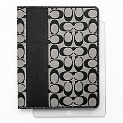 COACH SIGNATURE STRIPE IPAD CASE - SILVER/BLACK/WHITE/BLACK - F61761