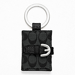 COACH SIGNATURE PICTURE FRAME KEY RING - SILVER/BLACK GREY/BLACK - F61848