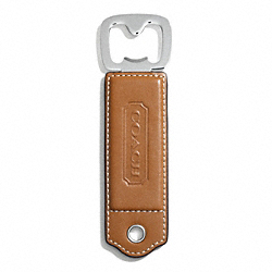 COACH LEXINGTON LEATHER BOTTLE OPENER - SILVER/SADDLE - F61885