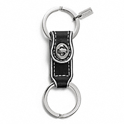 COACH LEATHER VALET KEY RING - SILVER/BLACK - F61893