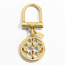 COACH PIERCED SIGNATURE C PAVE KEY RING - BRASS/CLEAR - F61900