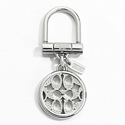 COACH PIERCED SIGNATURE C PAVE KEY RING - SILVER/MULTICOLOR - F61900
