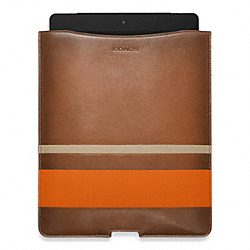 COACH BLEECKER DEBOSSED PAINTED STRIPE IPAD SLEEVE - FAWN/BONFIRE - F61923