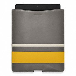 COACH BLEECKER DEBOSSED PAINTED STRIPE IPAD SLEEVE - PEWTER/SQUASH - F61923