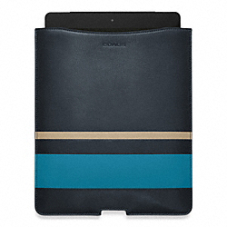COACH BLEECKER DEBOSSED PAINTED STRIPE IPAD SLEEVE - NAVY/OCEAN - F61923