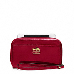COACH MADISON PATENT UNIVERSAL CASE - BRASS/CRIMSON - F61946
