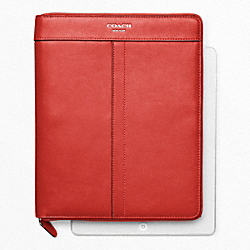 LEATHER ZIP AROUND IPAD CASE - f61953 - SILVER/CARNELIAN