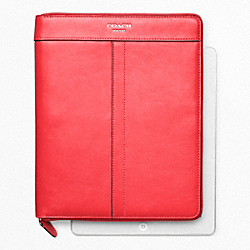 COACH LEATHER ZIP AROUND IPAD CASE - SILVER/BRIGHT CORAL - F61953