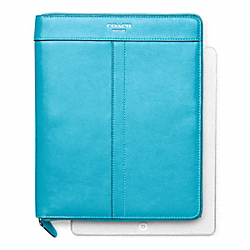 COACH LEATHER ZIP AROUND IPAD CASE - SILVER/ROBIN - F61953