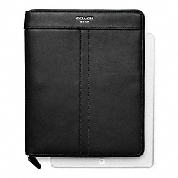 COACH LEATHER ZIP AROUND IPAD CASE - SILVER/BLACK - F61953