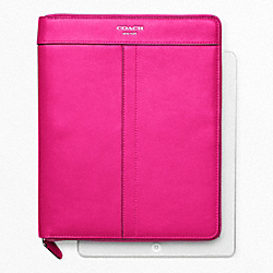 COACH LEATHER ZIP AROUND IPAD CASE - SILVER/FUCHSIA - F61953