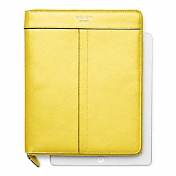 COACH LEATHER ZIP AROUND IPAD CASE - SILVER/LEMON - F61953