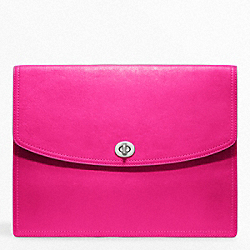 COACH LEATHER UNIVERSAL CLUTCH - SILVER/FUCHSIA - F61987