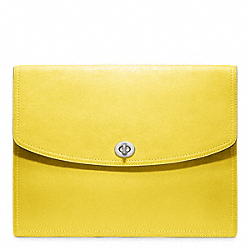 COACH LEATHER UNIVERSAL CLUTCH - SILVER/LEMON - F61987