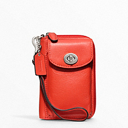 COACH LEATHER ID PHONE CASE - SILVER/CARNELIAN - F62082