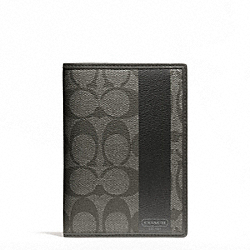 COACH COACH HERITAGE STRIPE PASSPORT CASE - SILVER/GREY/CHARCOAL - F62085