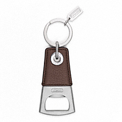 COACH BOTTLE OPENER KEY RING - SILVER/MAHOGANY - F62097