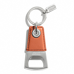 COACH BOTTLE OPENER KEY RING - SILVER/ORANGE - F62097
