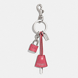COACH LEATHER KEY COVER KEY RING - LOGANBERRY - F62141