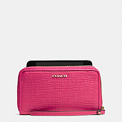 COACH MADISON EMBOSSED LEATHER EAST/WEST UNIVERSAL CASE - LIGHT GOLD/PINK RUBY - F62171