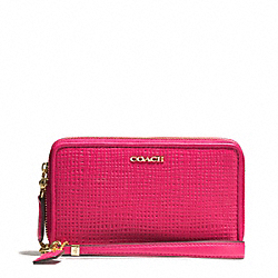 COACH MADISON DOUBLE ZIP PHONE WALLET IN EMBOSSED LEATHER - LIGHT GOLD/PINK RUBY - F62191