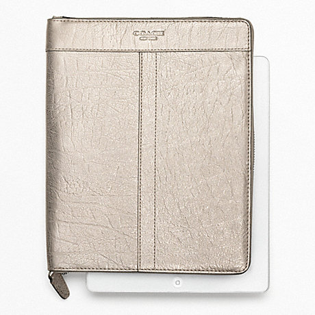 COACH METALLIC LEATHER ZIP AROUND IPAD CASE -  - f62219