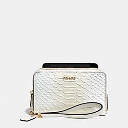 COACH MADISON DOUBLE ZIP PHONE WALLET IN PYTHON EMBOSSED LEATHER - LIGHT GOLD/WHITE IVORY - F62248