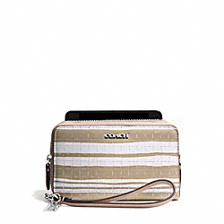 BLEECKER EMBOSSED WOVEN LEATHER DOUBLE ZIP PHONE WALLET - SILVER/FAWN/WHITE - COACH F62249