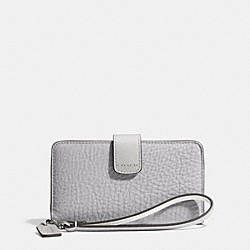 COACH BLEECKER EDGEPAINT LEATHER PHONE WALLET - SILVER/SOAPSTONE/CHARCOAL - F62273