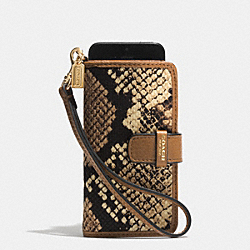COACH MADISON PHONE WRISTLET IN PYTHON PRINT FABRIC - LIGHT GOLD/NATURAL - F62281