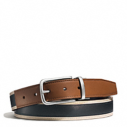 COACH HERITAGE LEATHER SPORT CUT TO SIZE REVERSIBLE BELT - SADDLE/NAVY - F62354