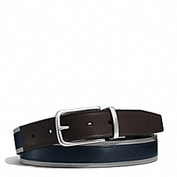 COACH HERITAGE LEATHER SPORT CUT TO SIZE REVERSIBLE BELT - SLATE/BLACK - F62354