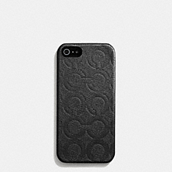 IPHONE CASE IN OP ART EMBOSSED LEATHER - f62379 -  BLACK