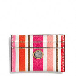PEYTON MULTI STRIPE CARD CASE - f62388 - SILVER/PINK MULTICOLOR