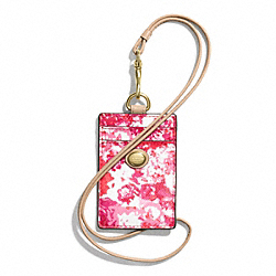 PEYTON FLORAL PRINT LANYARD ID CASE - BRASS/PINK MULTICOLOR - COACH F62400