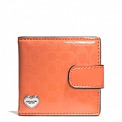 PERFORATED EMBOSSED LIQUID GLOSS FOLDING MIRROR - SILVER/ORANGE - COACH F62404
