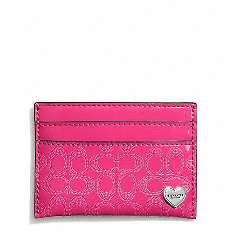 COACH PERFORATED EMBOSSED LIQUID GLOSS CARD CASE - SILVER/FUCHSIA - f62405