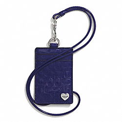 PERFORATED EMBOSSED LIQUID GLOSS LANYARD ID CASE - SILVER/NAVY - COACH F62406
