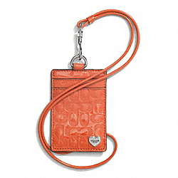 PERFORATED EMBOSSED LIQUID GLOSS LANYARD ID CASE - SILVER/ORANGE - COACH F62406