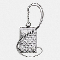 PERFORATED EMBOSSED LIQUID GLOSS LANYARD ID CASE - f62406 - SILVER/PEWTER