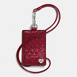 PERFORATED EMBOSSED LIQUID GLOSS LANYARD ID CASE - f62406 - SILVER/RED